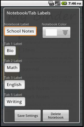 My Binder: Tabbed Notes - screenshot