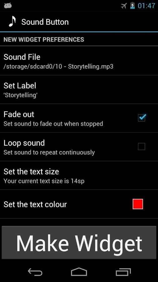 Sound Button widget- screenshot