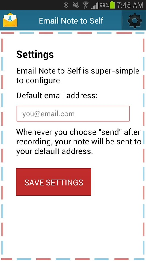 Email Note to Self- screenshot