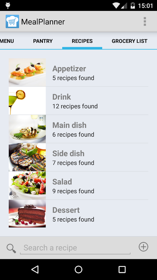 meal planner shopping list android apps on google play. Black Bedroom Furniture Sets. Home Design Ideas