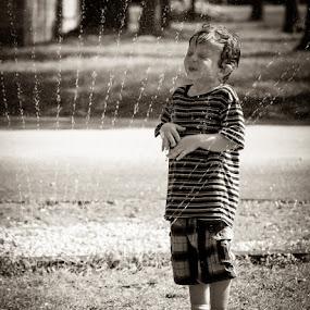 Summer by Bob Barrett - Babies & Children Children Candids ( water, sprinkler, black and white, summer, children )