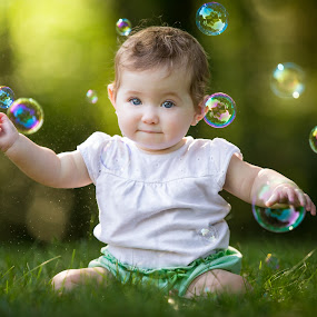 Bubble Girl by Mike DeMicco - Babies & Children Child Portraits ( bubble, girl, sweet, bubbles, baby, pretty, portrait )