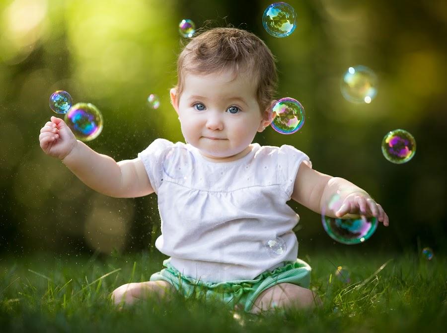 Bubble Girl by Mike DeMicco - Babies & Children Child Portraits ( bubble, girl, sweet, bubbles, baby, pretty, portrait )