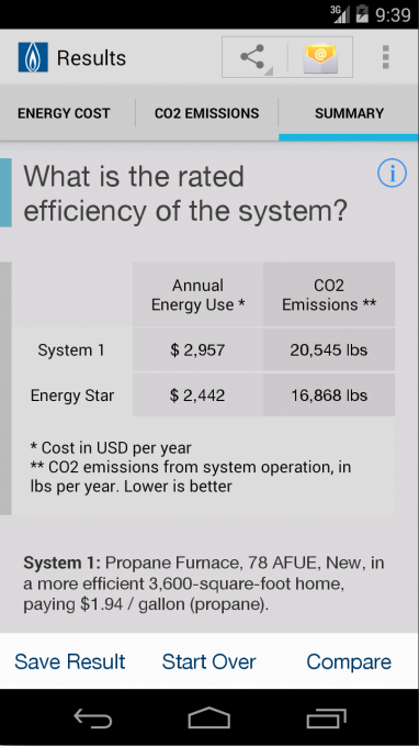 Energy and Carbon Calculator - screenshot