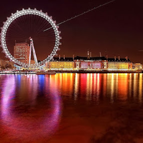 The Eye by Ina Herliana Koswara - City,  Street & Park  Night ( london, night, long exposure, cityscape, nightscape, city )