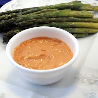 Roasted Asparagus with Romesco Dipping Sauce
