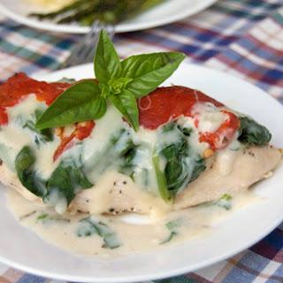 Chicken Breasts w/ Mozzarella, Spinach & Roasted Red Pepper.