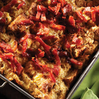Breakfast Bread Pudding with Turkey Bacon Crumble.