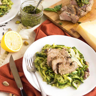 Pistachio Pesto Zoodles with Roasted Pork Tenderloin {Low Carb, Lower Fat, Gluten Free + High Protein} Recipe