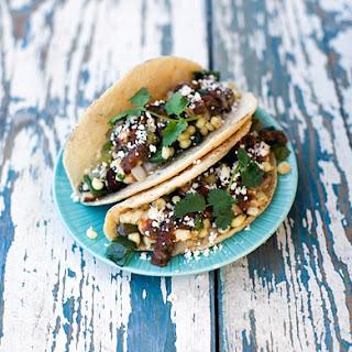 Mushroom, Rajas, and Corn Taco with Queso Fresco.