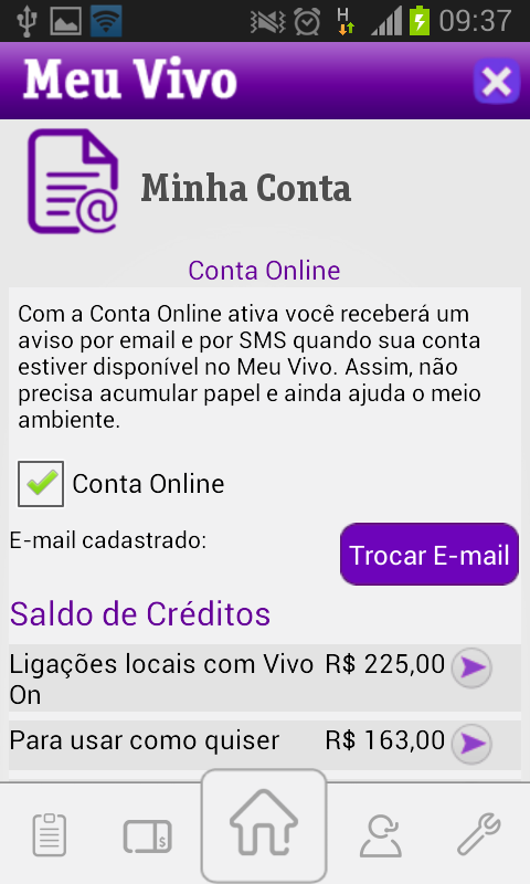 Meu Vivo App- screenshot
