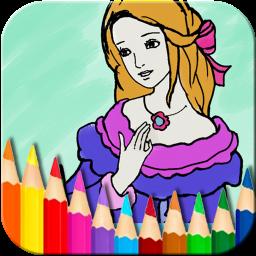 お姫様ぬりえ絵本 - お絵描きパッドとぬりえの2in1