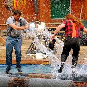 Lumberjack Show, Ketchikan, Alaska by Kathleen Koehlmoos - People Musicians & Entertainers ( lumberjacks, log-rolling in alaska, alaskan lumberjacks, ketchikan alaska, alaska, ketchikan, log-rolling,  )