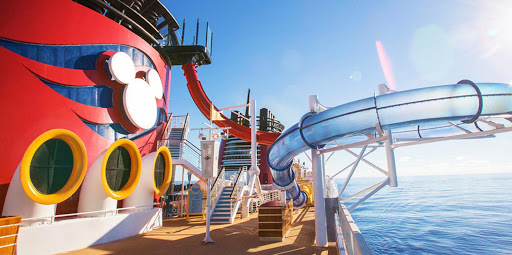 Disney-Magic-waterslide - Disney Magic features a waterslide that extends over the side of the ship — sure to provide an adrenaline rush.