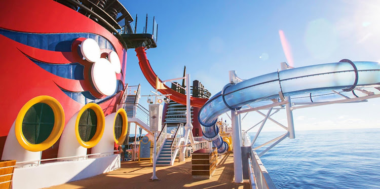 Disney Magic features a waterslide that extends over the side of the ship — sure to provide an adrenaline rush.
