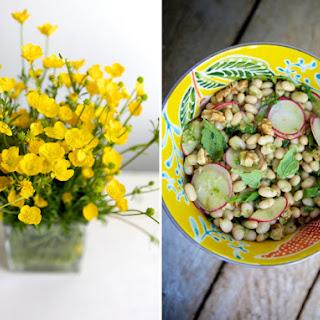 White Bean Salad with Radish, Capers, Walnuts & Ramp Pesto