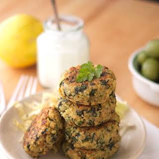 Greek Style Quinoa Patties With Tzatziki Sauce.