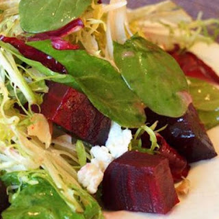 Roasted Beet Salad with Goat Cheese, Walnuts and Honey Dijon Vinaigrette