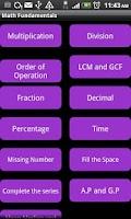 Screenshot of Math Fundamentals