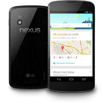 The Nexus 4 by LG.  Photo Courtesy Google Play Store.