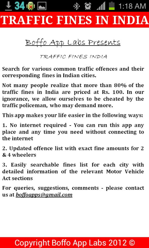 Traffic Fines India- screenshot