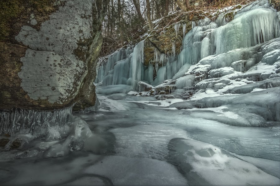 Blue Ice at Ozone by Aaron Campbell - Landscapes Caves & Formations ( falls trail, luzerne county, hdr, kitchen creek, glen leigh, icicles, ozone falls, pennsylvania, rock, frozen, lichen, ricketts glen, winter, nature, ice, formations, state park, snow, rasp,  )