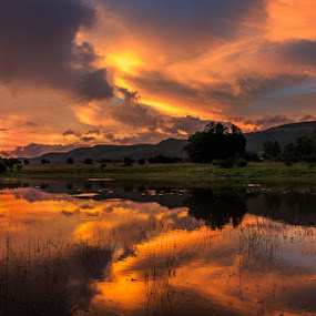 Overture by Hans-Erik Arp - Landscapes Waterscapes ( clouds, african, magaliesberg, south africa, reflections, mirror image, lake, dusk, colours, sunset, sundown, stormsignal, africa,  )