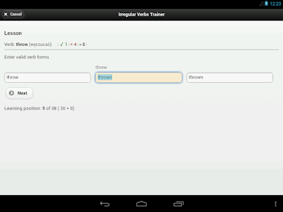 IVT - Irregular Verbs Trainer- screenshot thumbnail