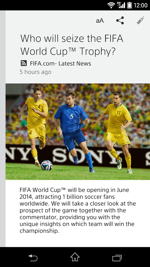 Sony's news app/Socialife News - screenshot