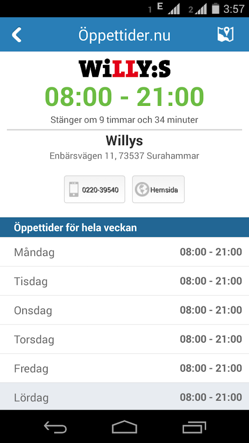 Öppettider.nu- screenshot