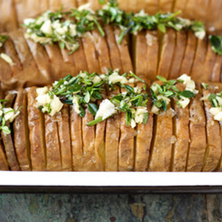 Hasselback Sweet Potatoes with Compound Herb Ghee