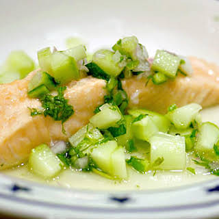 Salmon with Cucumber Chile Relish.