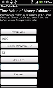 Time Value of Money Calculator - screenshot thumbnail