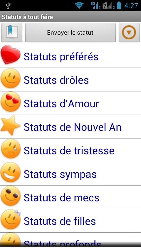 Populaire Statuts-Phrases à tout faire - Google Play Store revenue  LU05