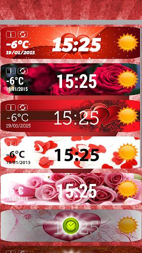 情人節时钟和天气小工具
