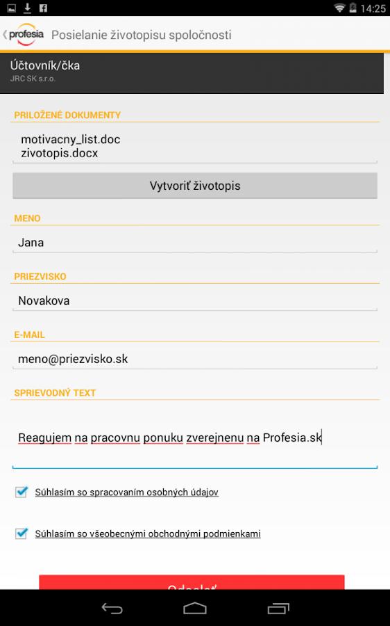 Profesia.sk - screenshot