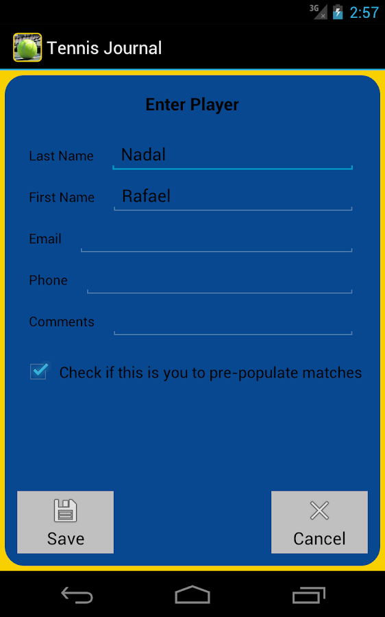 Tennis Journal- screenshot