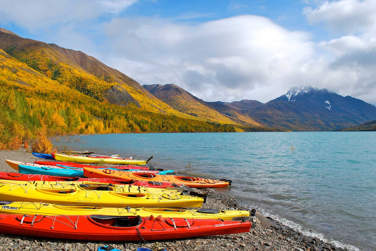 Kayaking on Eklutna Lake near Anchorage, Alaska.