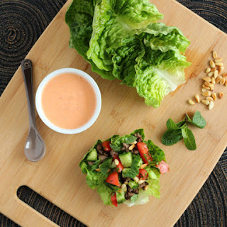 Lamb Lettuce Wraps with Red Pepper Hummus Sauce