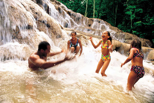Family time at Dunn's River Falls near Ocho Rios, Jamaica.