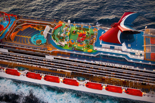 Carnival-Magic-SportSquare-Aerial - Play a friendly game of mini-golf or challenge yourself on the SkyCourse ropes on Carnival Magic's SportSquare.
