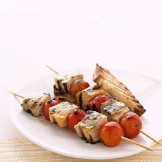 Grilled Fish Kabobs with Cherry Tomatoes.