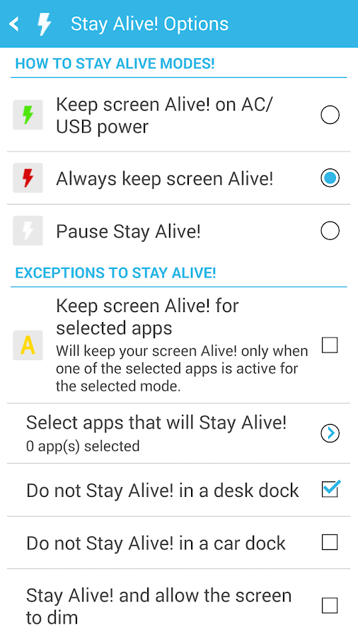 Stay Alive! Keep screen awake- screenshot