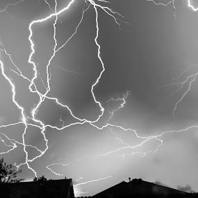 Lightning Storm by Colin Toone - Black & White Landscapes (  )