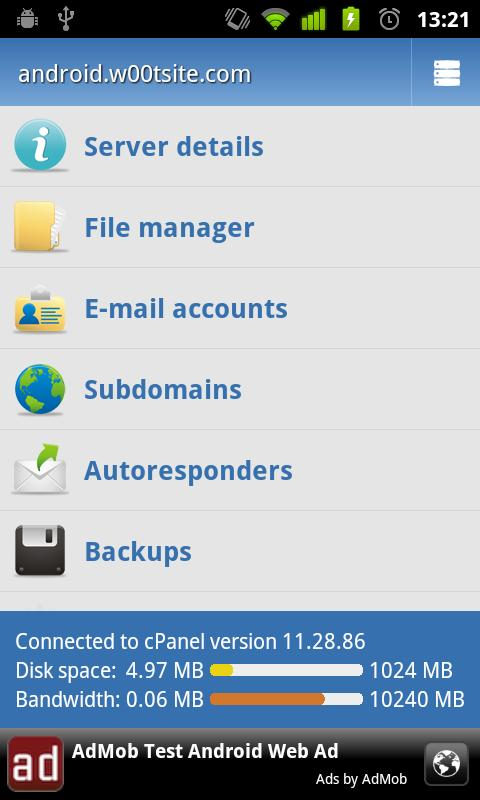 Control Panel cPanel (Donate) - screenshot