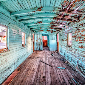 Rhyolite Ghost Town Caboose by Lawayne Kimbro - Buildings & Architecture Decaying & Abandoned ( death valley, desert, caboose, blue, rhyolite, ghost town, artistic, deserted, abandoned, , serenity, mood, factory, charity, autism, light, awareness, lighting, bulbs, LIUB, april 2nd )