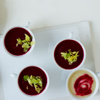 Duo of Celeriac and Beet Soup