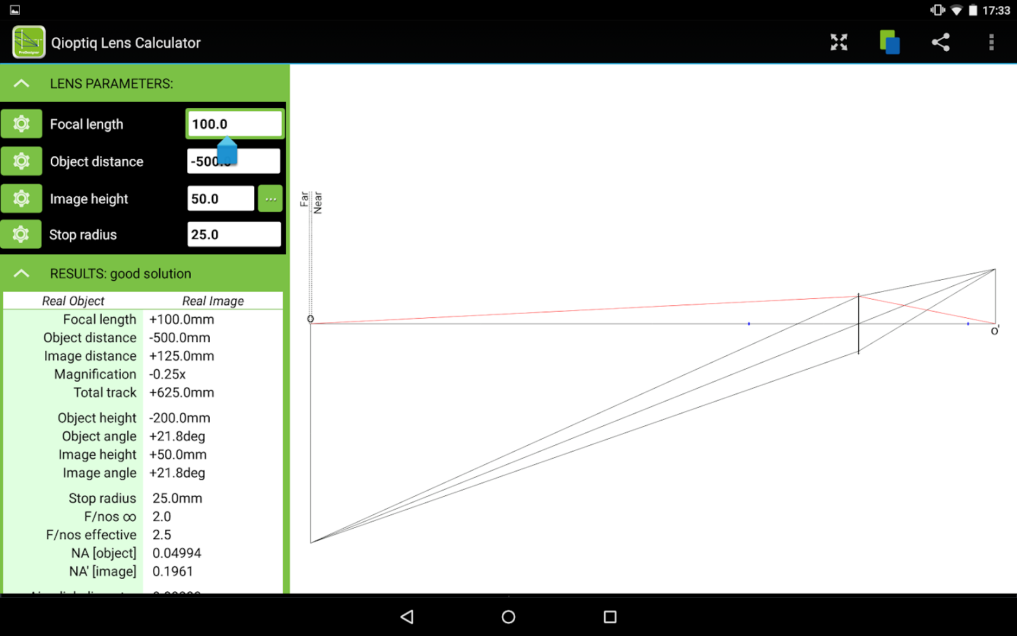 Qioptiq Lens Calculator- screenshot