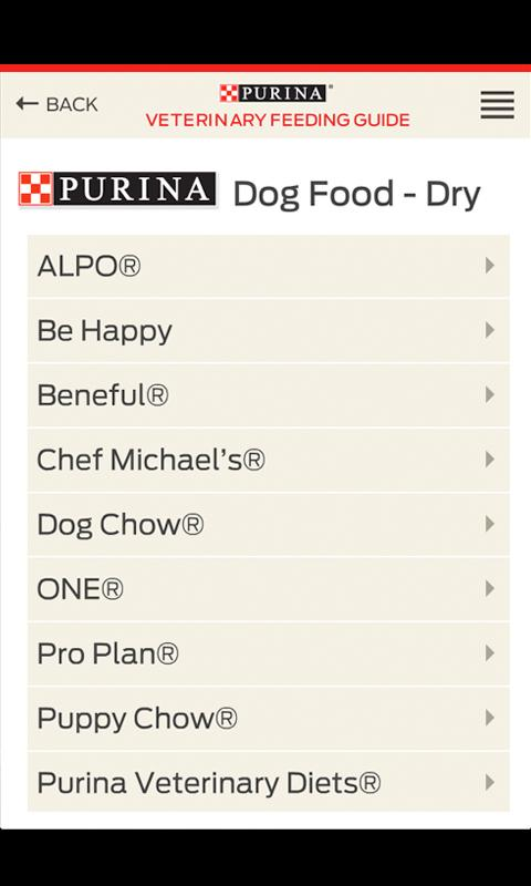 Purina® Feeding Guide- screenshot
