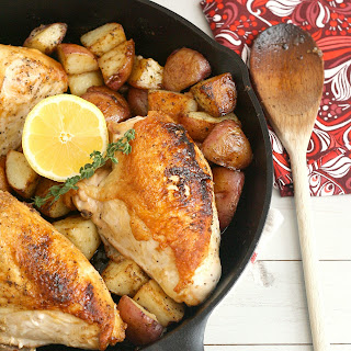 Pan-Roasted Chicken and Potatoes with Balsamic Dressing